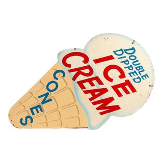 Mid 20th Century Antique Ice Cream Shop Trade Sign For Sale