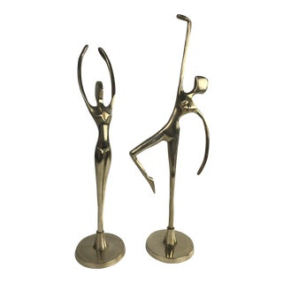Mid Century Brass Dancing Figurines - a Pair For Sale
