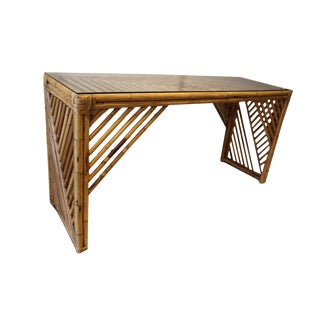 1970s Asian Bamboo Console With Glass Top For Sale