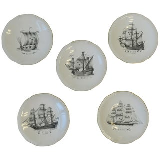 Set of 5 Swedish Rörstrand Nautical Black and White Porcelain Plates For Sale