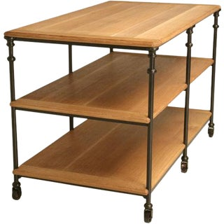 Custom Oak, Steel & Bronze Work Table For Sale
