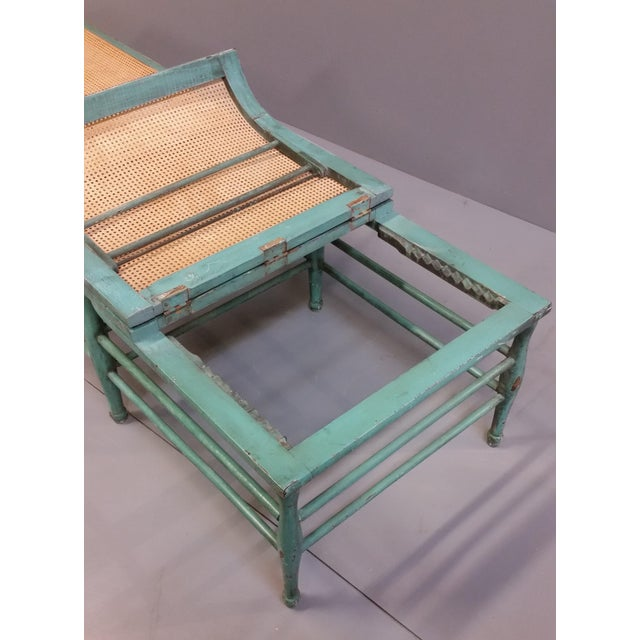 Antique 1920s French Wood and Cane Lounge Chair For Sale - Image 11 of 13