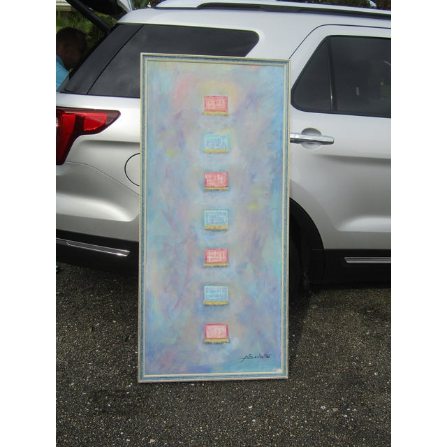 """Paint """"Little Boxes"""" Large Abstract Painting For Sale - Image 7 of 9"""