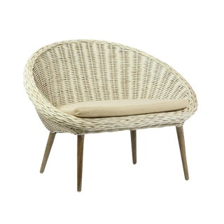 White Rattan Chair With Cushion For Sale