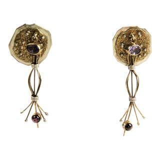 Artisan Brutalist Sterling & Gemstone Earrings For Sale