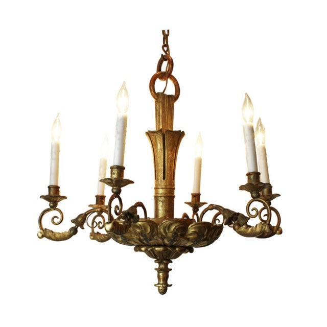 19th Century Italian Giltwood Chandelier For Sale In San Francisco - Image 6 of 6