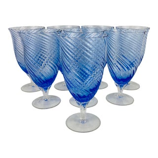 Late 20th Century Vintage Blue Swirl-Glass 16oz. Tea Goblets, Set of 8 For Sale