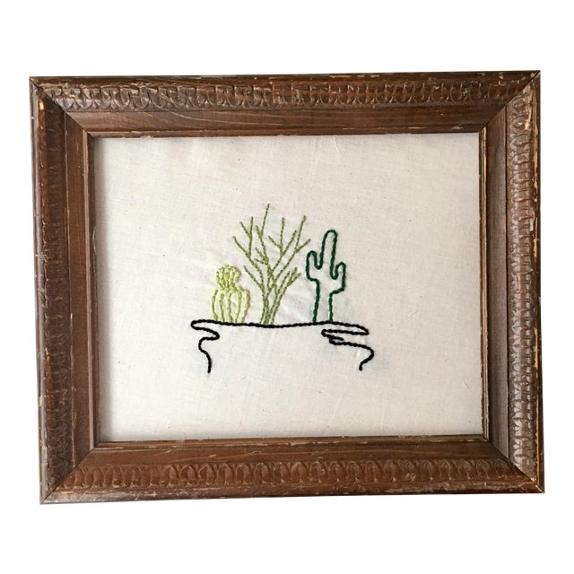 Antique Framed Cactus Embroidered Art - Image 1 of 6