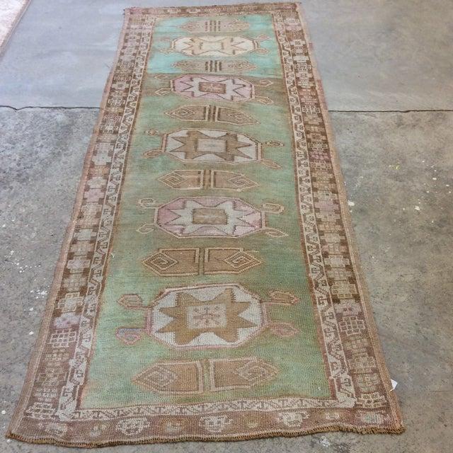 "Vintage Turkish Anatolian Runner Sea Green 7'9""x3' For Sale - Image 11 of 11"