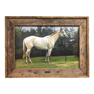 Edgar S. Nucum Original Oil on Canvas Painting of Race Horse Equestrian For Sale