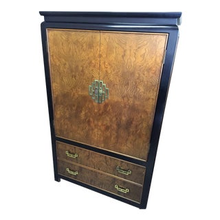 1970s Century Furniture Burlwood and Black Lacquer Chin Hua Armoire For Sale