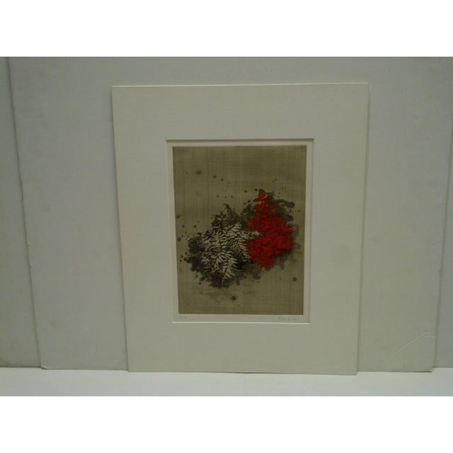 """This is a Limited Edition -- Numbered (60/70) And Signed Print -- Titled """"Red Flowers"""" -- By Y.Balif -- Circa 1980 -- The..."""