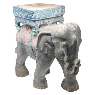 Wood Elephant Hand Carved Plant Stand For Sale
