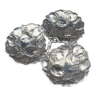 Faux Bois Cast Aluminum Silver Apple Design Condiment Platter by Arthur Court For Sale