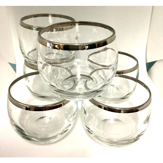 1960s 1960s Dorothy Thorpe Small Highball Silver Rim Glasses - Set of 6 For Sale - Image 5 of 7