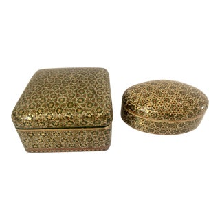 Persian Khatam Inlaid Marquetry Wood Boxes - a Pair For Sale