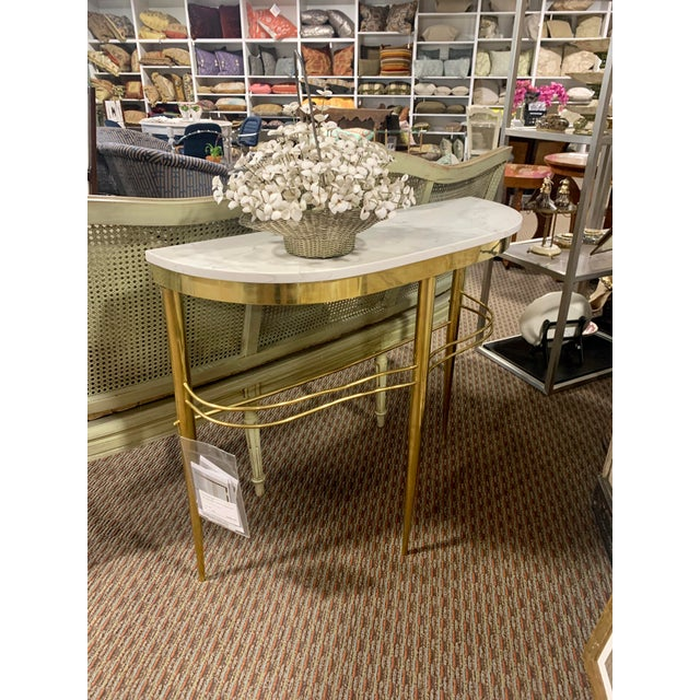 1960s Mid Century Italian Brass Demilune Console With White Marble Top For Sale - Image 5 of 12