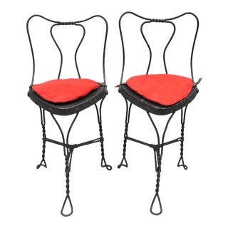 Antique Twisted Wrought Iron Metal Triangle Seat 3 Leg Ice Cream Parlor Chairs - a Pair