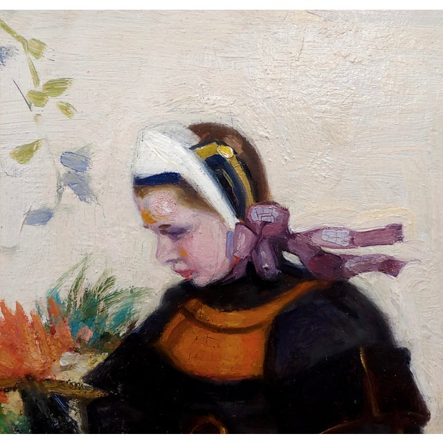 Ceramic Jacques Wely -Woman & Her Jack Russel Dog Coming From the Market-Oil Painting For Sale - Image 7 of 13