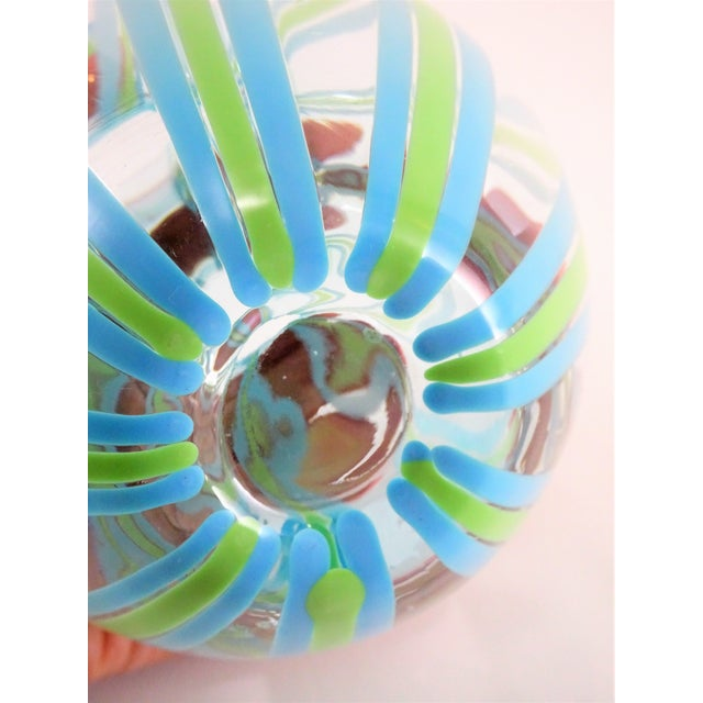 Hand Blown Green and Blue Glass Vase For Sale - Image 4 of 13