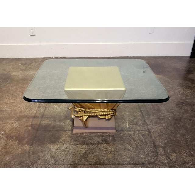 Fornasetti Pink and Gold Hollywood Regency Draped Coffee Table For Sale - Image 4 of 9
