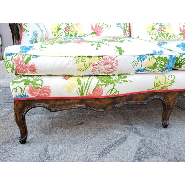 Vintage Louis XV Style Floral Upholstery Settee For Sale - Image 10 of 13