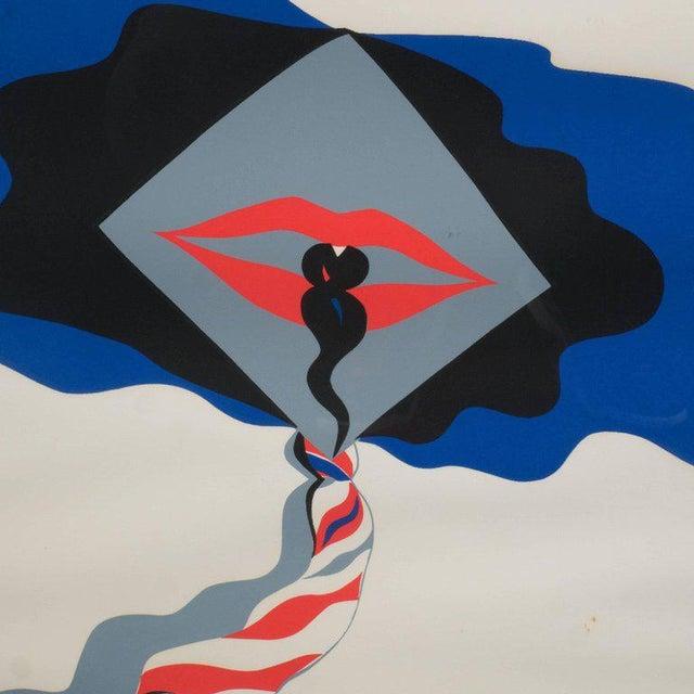 Mid-Century Modern Pop Art Print by Allen Jones in Black & Electric Blue/Red - Image 2 of 10