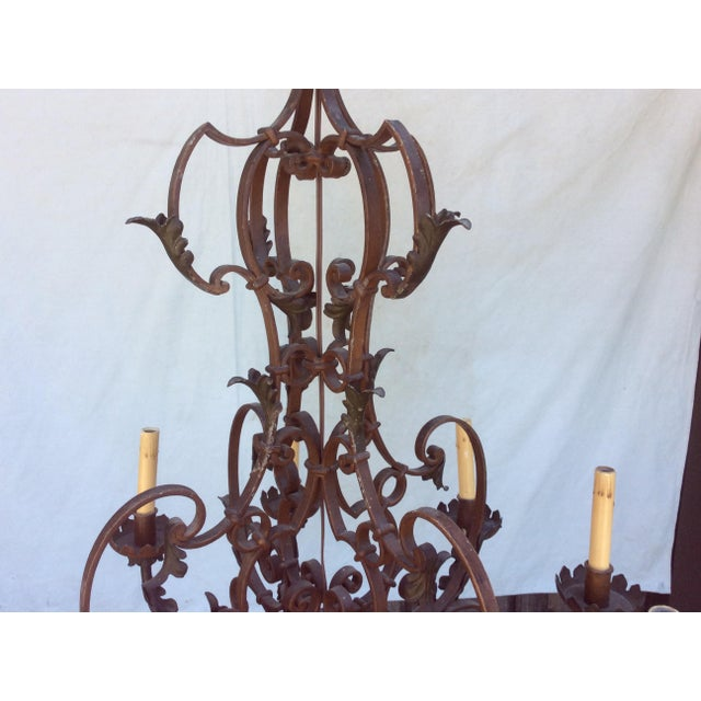 Brown Antique Scrolling Iron Chandelier For Sale - Image 8 of 11