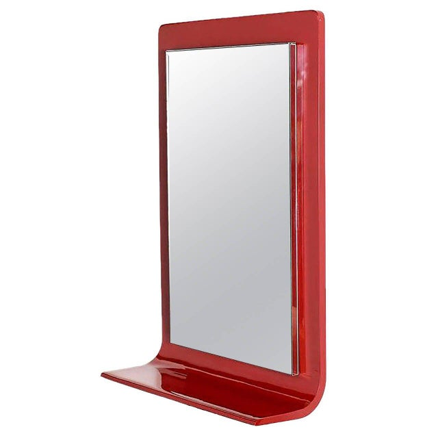 Gampel-Stoll Red Lacquered Wall Mirror with Integral Console For Sale In Chicago - Image 6 of 6