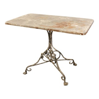 French Outdoor Wrought Iron Garden Table from Arras with Rectangular Top For Sale