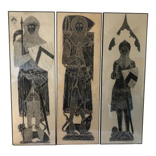 Three Vintage Mid Century Monumental Brass Rubbings 27x80 Each For Sale