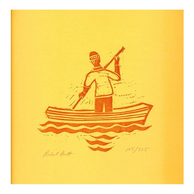 Robert Scott-Untitled (Sailor paddling)-1980 Woodblock-SIGNED For Sale