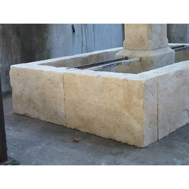 2010s Rectangular 2 Spout Limestone Center Fountain From Provence For Sale - Image 5 of 10