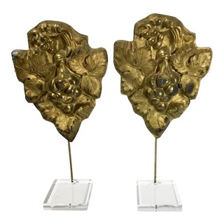 1920's Vintage French Brass Covers - A Pair For Sale