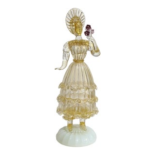 Murano Queen in Gold Leaf Holding Flowers Italian Art Glass Woman Sculpture For Sale