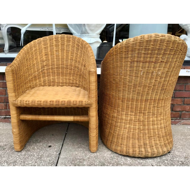 Moderne Rattan Barrel Chairs - a Pair For Sale - Image 10 of 11