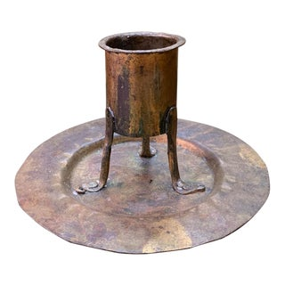 Antique Hand Forged Arts and Crafts Metal Candle Holder For Sale