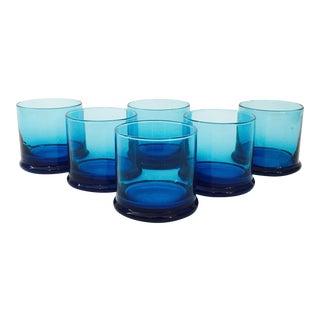 Vintage Blue Cocktail Glasses - Set of 6