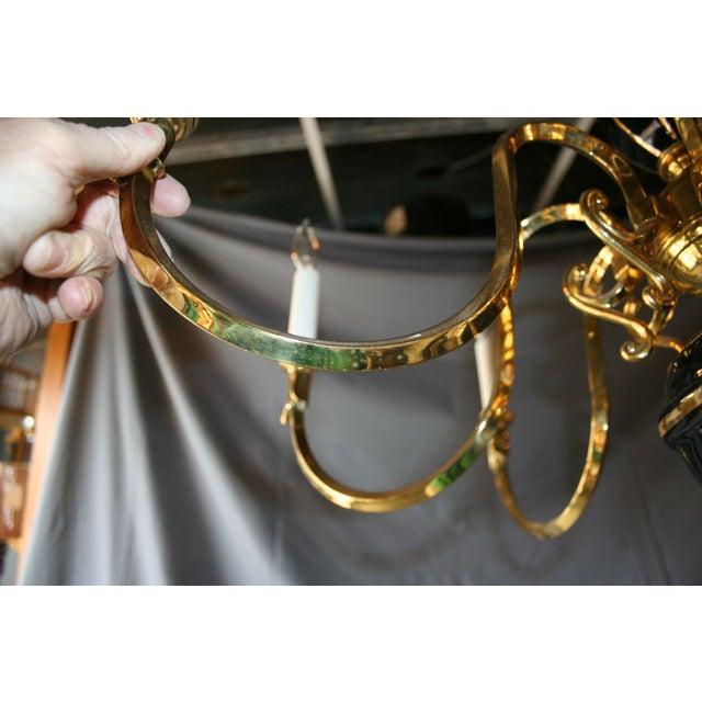 Black & Gold Porcelain and Brass Chandelier - Image 7 of 8