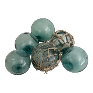 Mid-Century Aqua Glass Fishing Floats - Set of 6