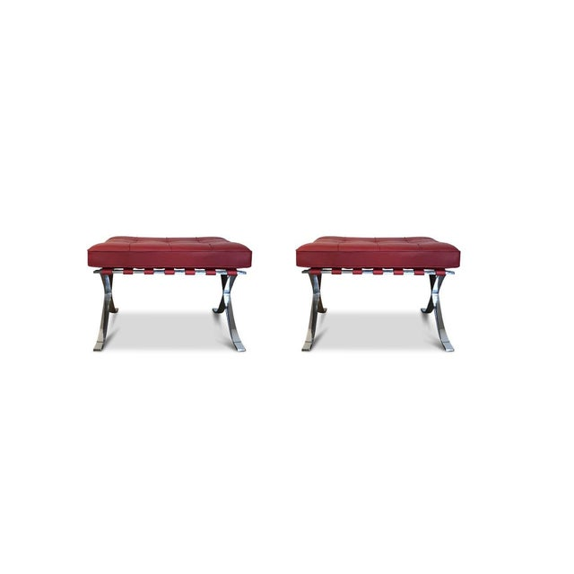 Modern 1990s Vintage Mies Van Der Rohe for Knoll Ottomans- A Pair For Sale - Image 3 of 3