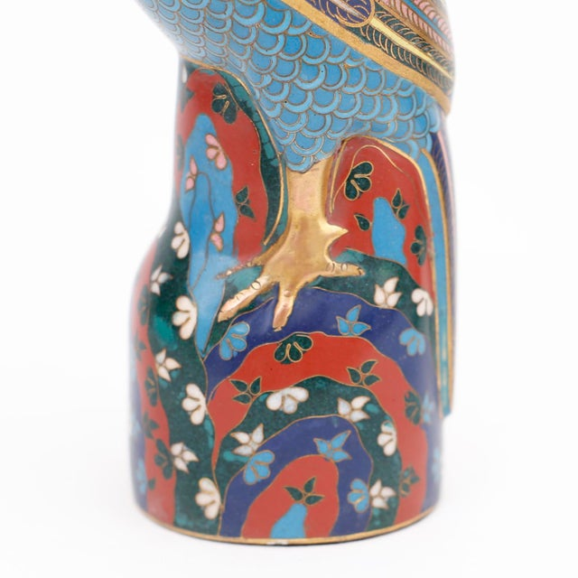 Metal Vintage Chinese Blue and Red Cloisonné Birds - a Pair For Sale - Image 7 of 8