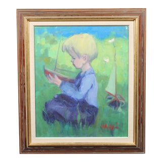 1966 Daydream Waves, a Portrait of a Young Boy and a Boat For Sale