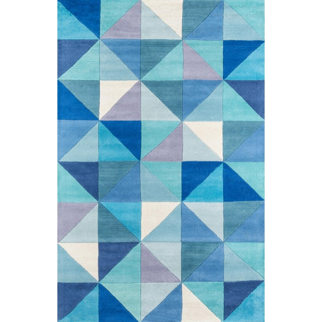 Contemporary Momeni Delhi Hand Tufted Blue Wool Area Rug - 5' X 8' For Sale In Atlanta - Image 6 of 6