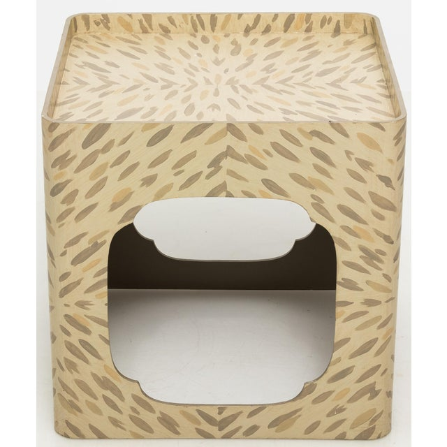Square side table from Hollyhock, Los Angeles. Hand painted faux tortoise finish.