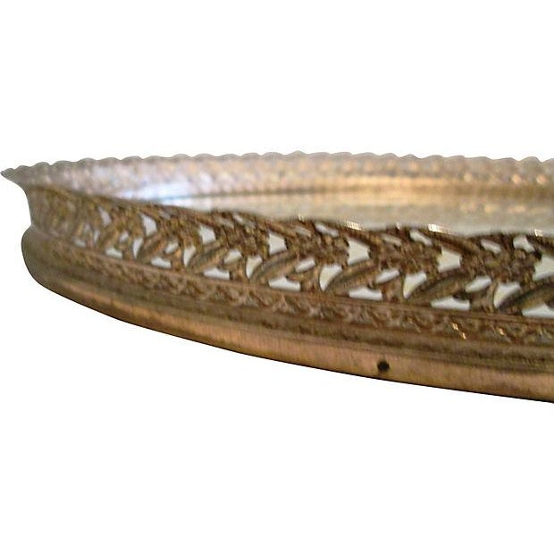 Midcentury Filigree Gold & Silver Foil Vanity Tray For Sale In West Palm - Image 6 of 7