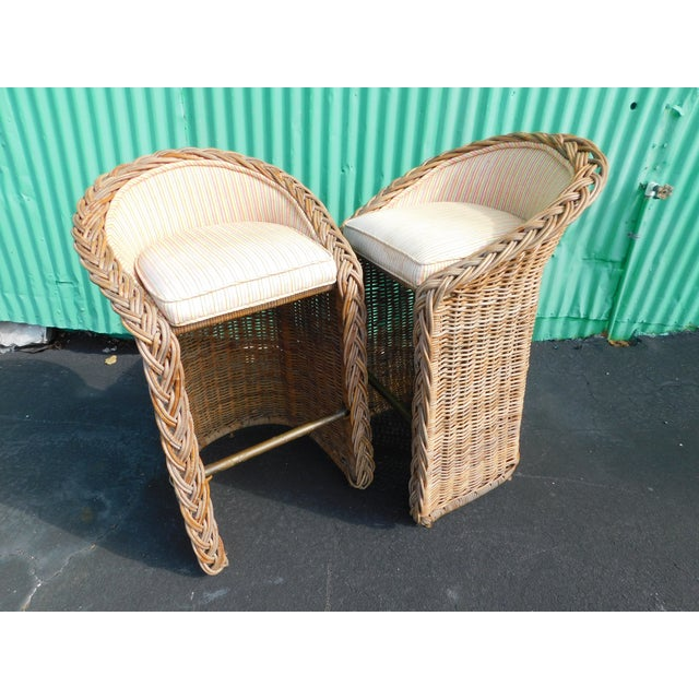 Boho Chic Wicker Stools - A Pair - Image 9 of 9