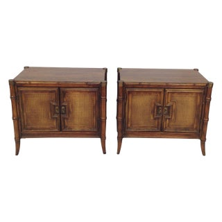 Faux Bamboo End Tables - A Pair