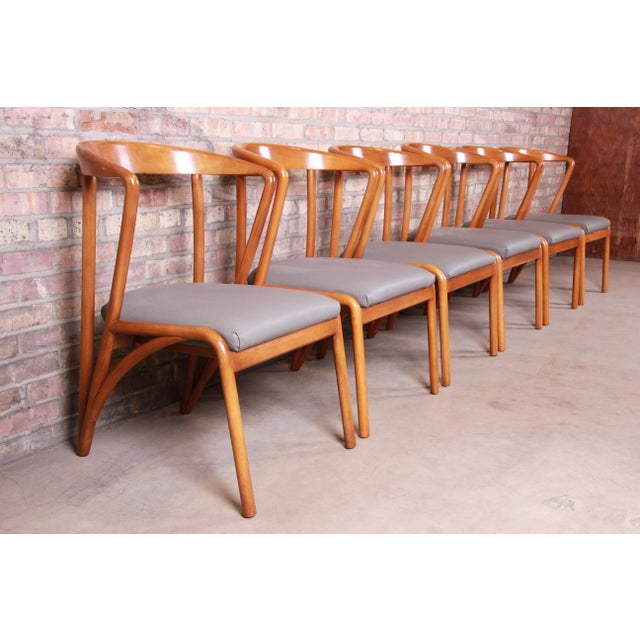 Baker Furniture Mid-Century Modern Sculpted Solid Maple Dining Chairs, Set of Six For Sale - Image 13 of 13