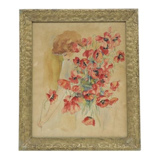 Early 20th Century Original Signed Watercolor Painting of Woman With Poppies For Sale